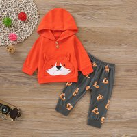 2-piece Fox Design Hoodie and Patterned Pants