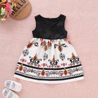 Ethnic Crown and Flower Print Sleeveless Dress
