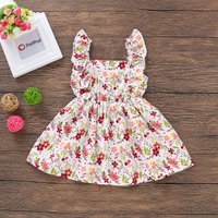 Allover Flower Ruffle-strap Cinched Dress