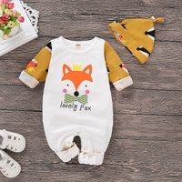 Fox Pattern Color Blocked Jumpsuit with Hat