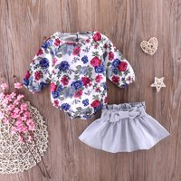 2-piece Flower Print Bodysuit and Solid Skirt