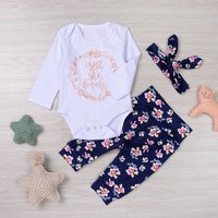 Baby's 3-piece Letter Bodysuit, Floral Pants and Headband