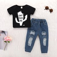 2-piece Baby/ Toddler Boy's Cactus Pattern Tee and Frayed Jeans