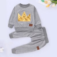 2-piece Stylish Crown Letter Applique Pullover and Solid Pants Set