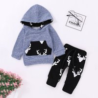 2-piece Trendy Reindeer Pattern Assorted Color Hooded Pullover and Drawstring Pants Set