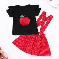 2-piece Sassy Ruffled Apple Applique Tee and Polka Dots Button Decor Suspender Dress Set