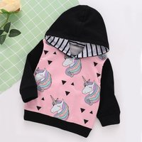Sassy Unicorn Geo Pattern Color Blocked Striped Hooded Pullover