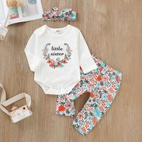 3-piece Sweet Floral Letter Bodysuit, Pants and Bow Decor Headband Set