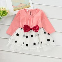 Baby Girl Bow Decor Dotted Tulle Dress