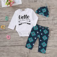 Baby 3-piece HELLO Bodysuit, Geo-print Pants and Hat