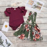 Baby Girl Layered Ruffle-sleeve Bodysuit and Suspender Floral Skirt Set