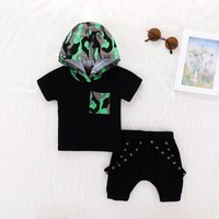 Baby / Toddler Camouflage Hoodie and Rivet Decor Shorts Set