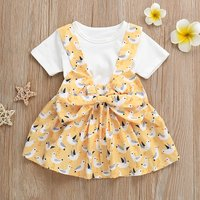 Baby / Toddler White Tee and Sea Gull Patterned Bow Suspender Skirt Set