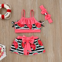 Baby / Toddler Girl's Striped Watermelon Patterned Top, Bow Skirt and Headband