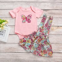 Baby/Toddler Girl's Butterfly Bodysuit and Flower Suspender Dress
