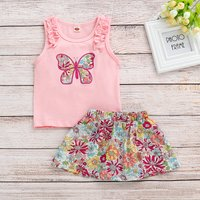 Baby/Toddler Girl's Butterfly Tank and Flower Skirt