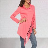 Women Solid Tassel Crossover Heap Collar Long Sleeve T-shirt