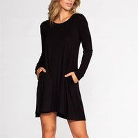 Casual Solid Long Sleeve Dress for Women