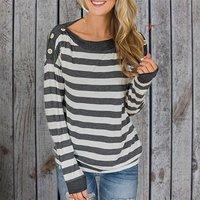 Pretty Striped Button Long-sleeve Tee