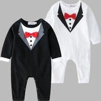 Baby Boy's Tie Design Long Sleeves Jumpsuit