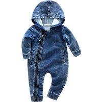 Handsome Hooded Denim Jumpsuit for Baby Boy
