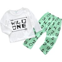 2-piece WILD ONE Long-sleeve Top and Number Print Pants for Baby