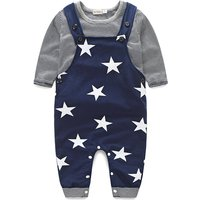 2-piece Cool Stripes Long-sleeve Tee and Star Print Overall for Baby Boy