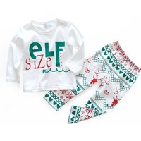 2-piece Cool Letter Print Long-sleeve Top and Deer Pants Set for Babies and Toddlers