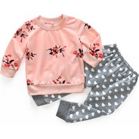 2-piece Beautiful Floral Long-sleeve Top and Love Pattern Pants Set