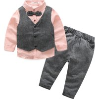 3-piece Cool Bow Tie Shirt and Vest and Pants Set for 3-6 Years Boy