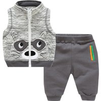 2-piece Cute Raccoon Appliqued Vest and Pants Set for Baby Boy