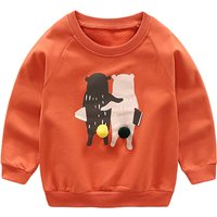 Cute Bear Print Long-sleeve Pullover for Toddler Boy and Boy