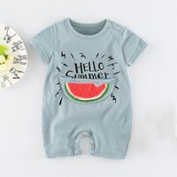 Lovely Watermelon and Letter Print Short-sleeve Jumpsuit for Baby