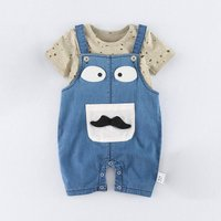 2-piece Cute Mustache Applique Overalls and Hollow Out Top for Baby