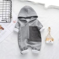 Handsome Solid Hooded Long-sleeve Jumpsuit for Baby