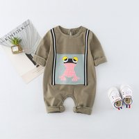 Baby Cartoon Frog / Letter Pattern Jumpsuit