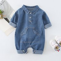 Baby's Denim Lapel Collar Jumpsuit