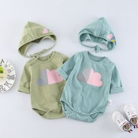 Lovely Heart Print Long-sleeve Bodysuit and Hat for Baby