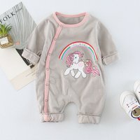Baby Rainbow and Unicorn Pattern Long-sleeve Jumpsuit