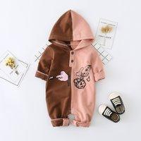 Baby Cartoon Rocket Color Blocked Hooded Jumpsuit