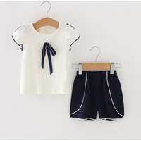 2-piece Bowknot Decor Short-sleeve Top and Shorts for Baby and Toddler Girl