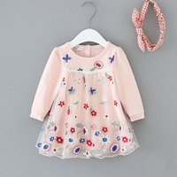 Lovely Embroidered Mesh Overlay Long-sleeve Dress for Baby and Toddler Girl