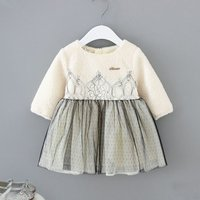 Pretty Dotted Tulle Fleece Long-sleeve Dress for Baby Girl and Girl