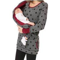 Comfy Floral Long-sleeve Turtleneck Maternity Hoodie