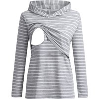 Casual Striped Long-sleeve Maternity Hoodie