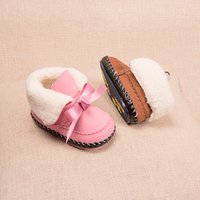 Baby Girl's Solid Sweet Bowknot Winter Boots