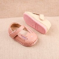Cute Embroider Rabbit Design Velcro Handmade Flats for Toddler Girl