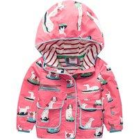 Lovely Dotted Dog Print Hooded Coat for Girls