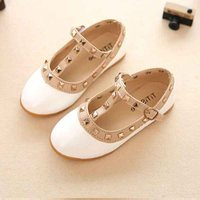 Cool Rivet Decor Leather Flats for Toddler Girl and Girl