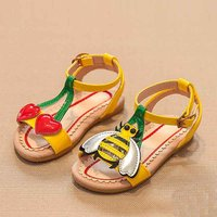 Stylish Cherry and Bee Applique Sandals for Toddler Girl and Girl